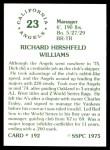 1976 SSPC #192  Dick Williams  Back Thumbnail