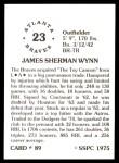 1976 SSPC #89  Jim Wynn  Back Thumbnail