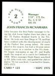 1976 SSPC #123  John McNamara  Back Thumbnail