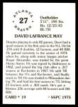 1976 SSPC #19  Dave May  Back Thumbnail