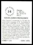 1976 SSPC #116  Dave Freisleben  Back Thumbnail