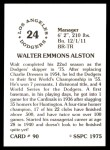 1976 SSPC #90  Walt Alston  Back Thumbnail