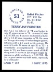 1976 SSPC #157  Terry Forster  Back Thumbnail