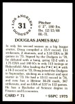 1976 SSPC #71  Doug Rau  Back Thumbnail