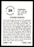 1976 SSPC #63  Cesar Cedeno  Back Thumbnail