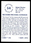 1976 SSPC #156  Goose Gossage  Back Thumbnail