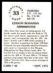 1976 SSPC #42  Ed Armbrister  Back Thumbnail
