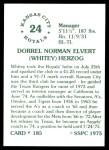 1976 SSPC #185  Whitey Herzog  Back Thumbnail