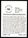 1976 SSPC #49  Doug Konieczny  Back Thumbnail