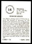 1976 SSPC #76  Ivan DeJesus  Back Thumbnail