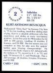 1976 SSPC #233  Kurt Bevacqua  Back Thumbnail