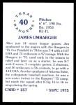 1976 SSPC #257  Jim Umbarger  Back Thumbnail
