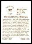 1976 SSPC #307  Darold Knowles  Back Thumbnail