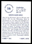 1976 SSPC #241  Sixto Lezcano  Back Thumbnail