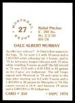 1976 SSPC #350  Dale Murray  Back Thumbnail