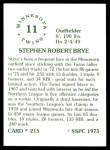 1976 SSPC #215  Steve Brye  Back Thumbnail