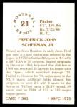 1976 SSPC #343  Fred Scherman  Back Thumbnail
