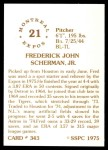 1976 SSPC #343  Fred Scherman  Back Thumbnail