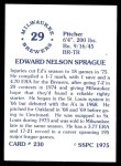 1976 SSPC #230  Ed Sprague  Back Thumbnail