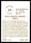 1976 SSPC #316  Manny Trillo  Back Thumbnail