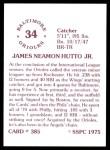 1976 SSPC #385  Jim Hutto  Back Thumbnail