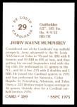 1976 SSPC #289  Jerry Mumphrey  Back Thumbnail