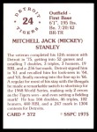 1976 SSPC #372  Mickey Stanley  Back Thumbnail