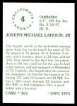 1976 SSPC #201  Joe Lahoud  Back Thumbnail