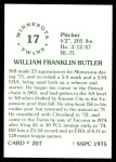 1976 SSPC #207  Bill Butler  Back Thumbnail