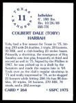 1976 SSPC #264  Toby Harrah  Back Thumbnail