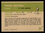 1961 Fleer #21  Frank Mestnick  Back Thumbnail