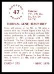 1976 SSPC #373  Terry Humphrey  Back Thumbnail
