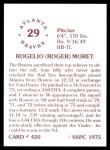 1976 SSPC #420  Rogelio Moret  Back Thumbnail