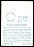1976 SSPC #627  Dave Tomlin  Back Thumbnail