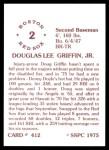 1976 SSPC #412  Doug Griffin  Back Thumbnail