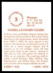 1976 SSPC #476  Danny Ozark  Back Thumbnail