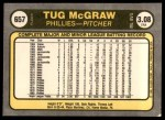 1981 Fleer #657 COR Tug McGraw  Back Thumbnail