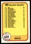 1981 Fleer #644 ERR  Reds / Orioles Checklist Front Thumbnail