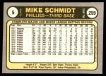 1981 Fleer #5   -  Mike Schmidt MVP Back Thumbnail