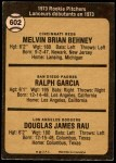 1973 O-Pee-Chee #602   -  Mel Behney / Ralph Garcia / Doug Rau Rookie Pitchers Back Thumbnail