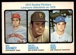 1973 O-Pee-Chee #602   -  Mel Behney / Ralph Garcia / Doug Rau Rookie Pitchers Front Thumbnail