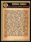 1967 O-Pee-Chee #116  Herman Franks  Back Thumbnail