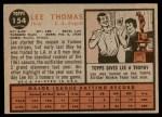 1962 Topps #154 NRM Lee Thomas  Back Thumbnail