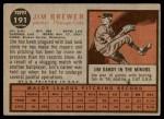 1962 Topps #191 NRM Jim Brewer  Back Thumbnail