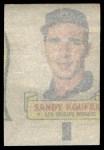 1966 Topps Rub Offs   Sandy Koufax   Back Thumbnail