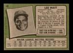 1971 Topps #40  Lee May  Back Thumbnail