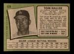 1971 Topps #639  Tom Haller  Back Thumbnail
