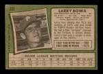 1971 Topps #233  Larry Bowa  Back Thumbnail
