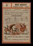 1962 Topps #97  Mike Mercer  Back Thumbnail