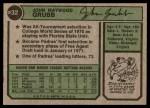 1974 Topps #32 SD Johnny Grubb  Back Thumbnail